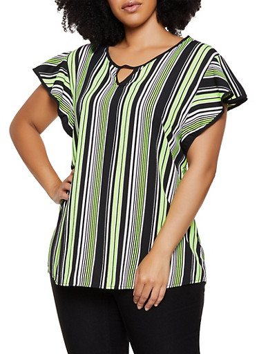 Plus Size Striped Flutter Sleeve Top,LIME,large