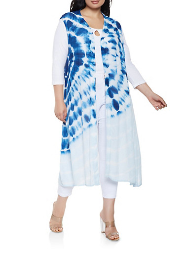 Plus Size Tie Dye Duster,BABY BLUE,large