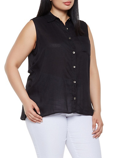 Plus Size Sleeveless Button Front Top,BLACK,large