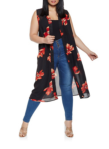 Plus Size Sleeveless Printed Duster,BLACK,large