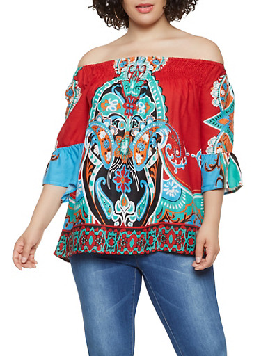 Plus Size Printed Off the Shoulder Top,RED,large
