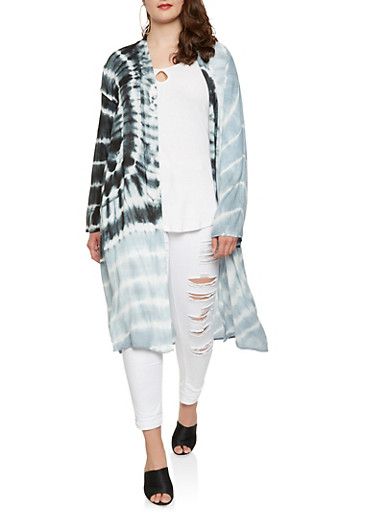 Plus Size Tie Dye Duster,CHARCOAL,large