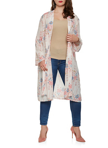 Plus Size Printed Duster,IVORY,large