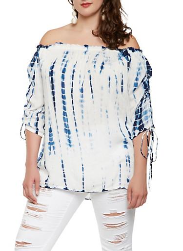 Plus Size Tie Dye Off the Shoulder Top,NAVY,large