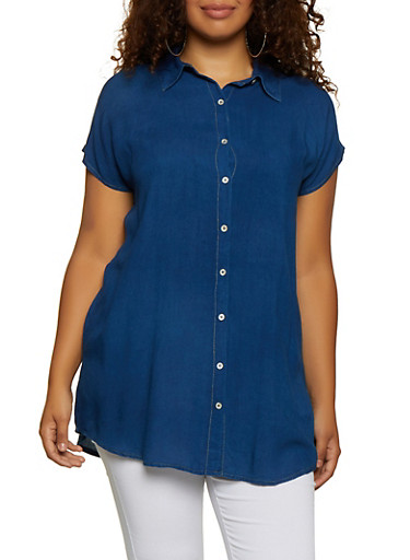 Plus Size Chambray Button Front Tunic Top,DARK WASH,large