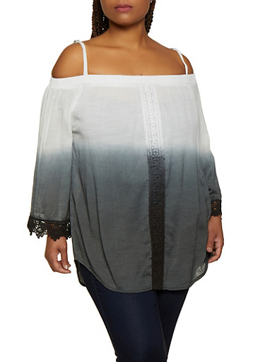 Plus Size Cold Shoulder Ombre Top,CHARCOAL,large