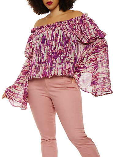Plus Size Printed Off the Shoulder Top,WINE,large