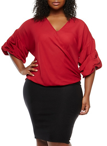 Plus Size Faux Wrap High Low Top,WINE,large