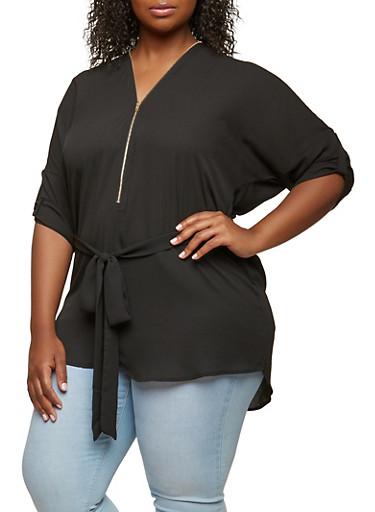 Plus Size Zipper Detail Tunic Top,BLACK,large