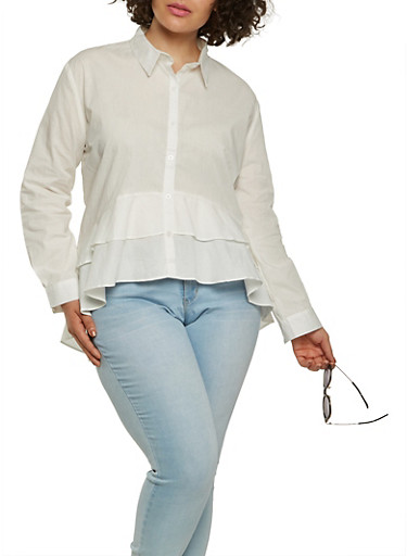 Plus Size Tiered High Low Shirt,WHITE,large