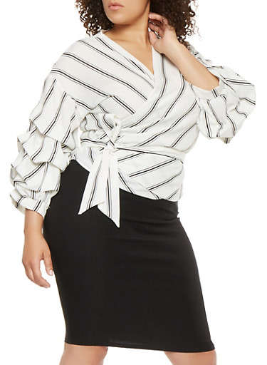 Plus Size Striped Wrap Top | Tuggl