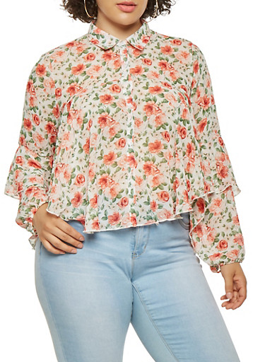 Plus Size Tiered Floral Shirt,IVORY,large