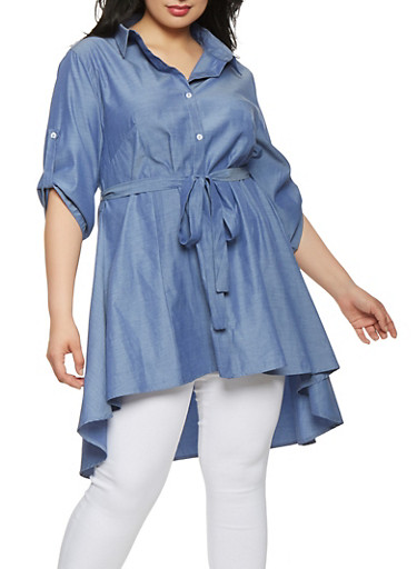 Plus Size High Low Chambray Top,NAVY,large