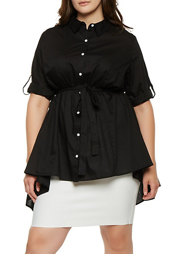 Plus Size Belted High Low Shirt,BLACK,large