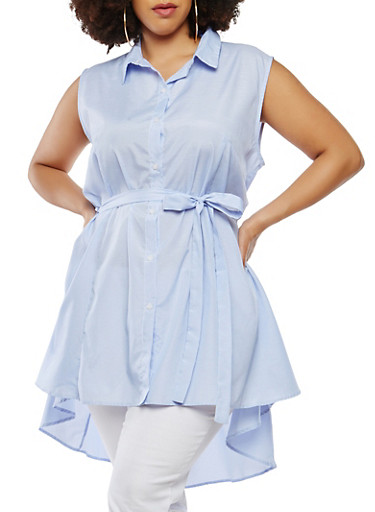 Plus Size Striped High Low Tunic Top,BABY BLUE,large