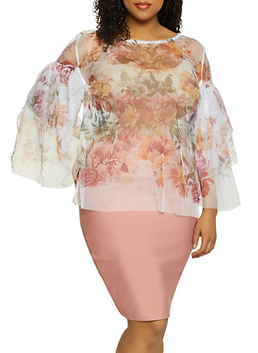 Plus Size Floral Tiered Bell Sleeve Mesh Top,IVORY,large