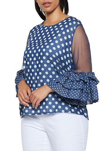 Plus Size Mesh Sleeve Polka Dot Top,BLUE,large