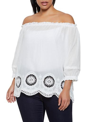 Plus Size Off the Shoulder Crochet Eyelet Hem Top,WHITE,large