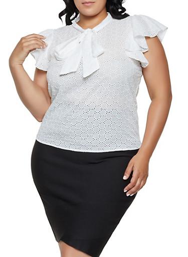 Plus Size Eyelet Tie Neck Top,WHITE,large