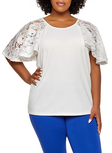 Plus Size Lace Sleeve Textured Knit Top,WHITE,large
