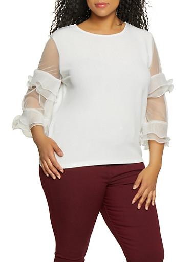 Plus Size Mesh Ruffle Sleeve Top,WHITE,large