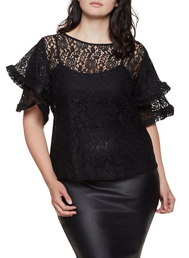 Plus Size Lace Tiered Sleeve Top,BLACK,large