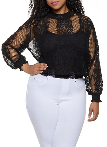 Plus Size Smocked Lace Top,BLACK,large