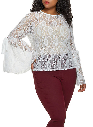 Plus Size Lace Tie Bell Sleeve Top,WHITE,large