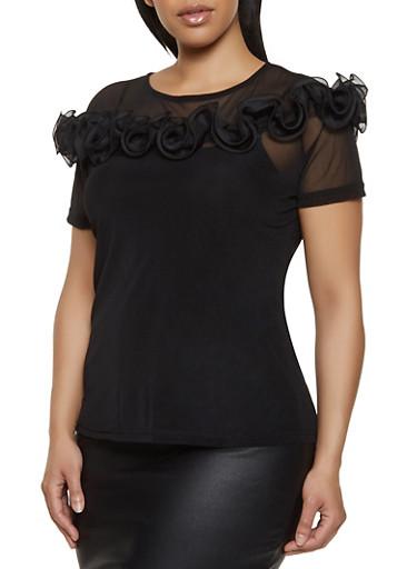 Plus Size Mesh Ruffle Detail Top,BLACK,large