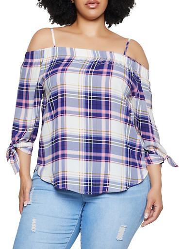 Plus Size Plaid Cold Shoulder Top,NAVY,large