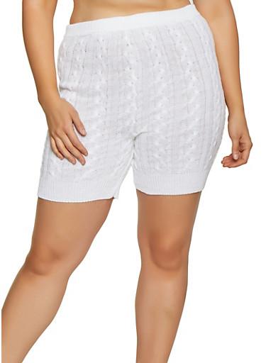 Plus Size Cable Knit Bike Shorts,WHITE,large