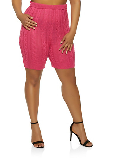 Plus Size Cable Knit Bike Shorts,PINK,large
