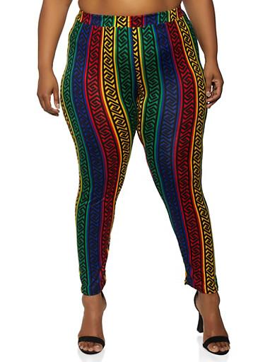 Plus Size Geometric Striped Leggings,GREEN,large