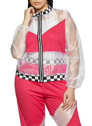 Plus Size Checkered Trim Organza Track Jacket,PINK,large