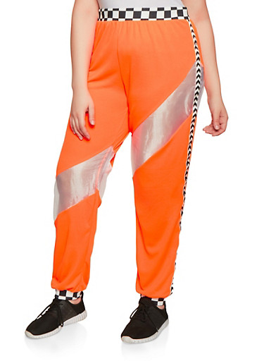 Plus Size Checkered Trim Joggers,ORANGE,large