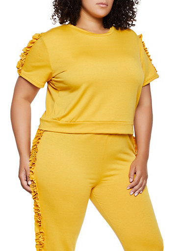 Plus Size Ruffle Sleeve Sweatshirt,YELLOW,large
