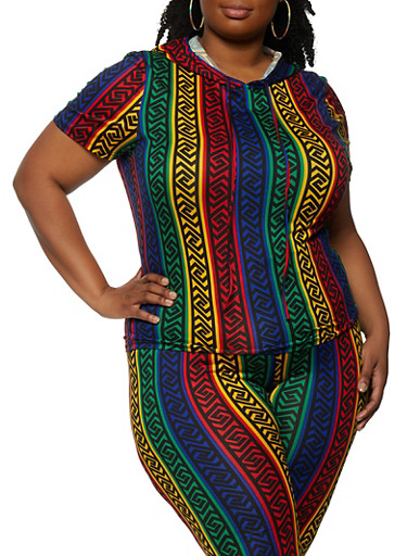 Plus Size Striped Geometric Print Hooded Top,GREEN,large