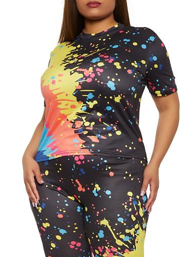 Plus Size Paint Splatter Short Sleeve Top,BLACK,large