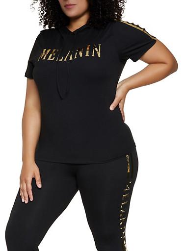 Plus Size Melanin Hooded Top,BLACK,large