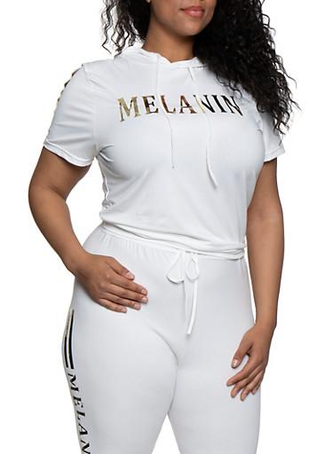 Plus Size Melanin Hooded Top,WHITE,large