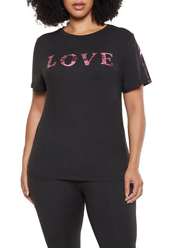 Plus Size Love Foil Graphic Tee,BLACK,large