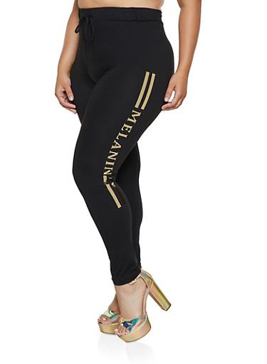 Plus Size Foil Melanin Graphic Leggings,BLACK,large