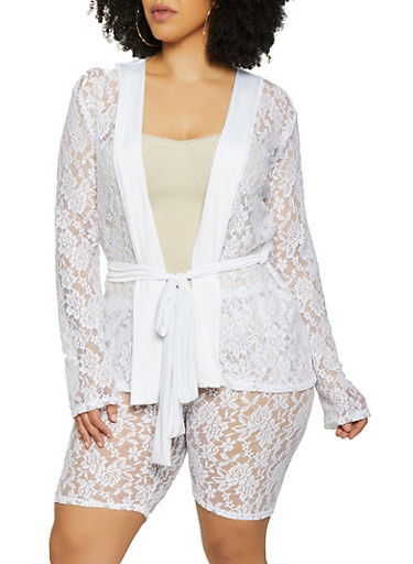Plus Size Tie Waist Lace Blazer,WHITE,large
