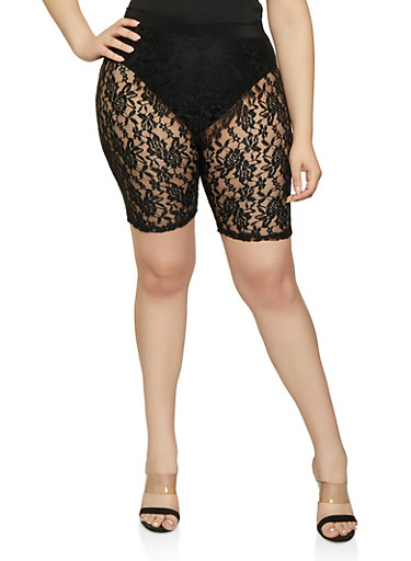 Plus Size Lace Bike Shorts,BLACK,large