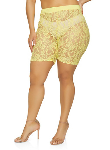 Plus Size Lace Bike Shorts,YELLOW,large