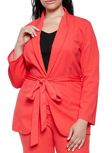 Plus Size Belted Crepe Knit Blazer,CORAL,large