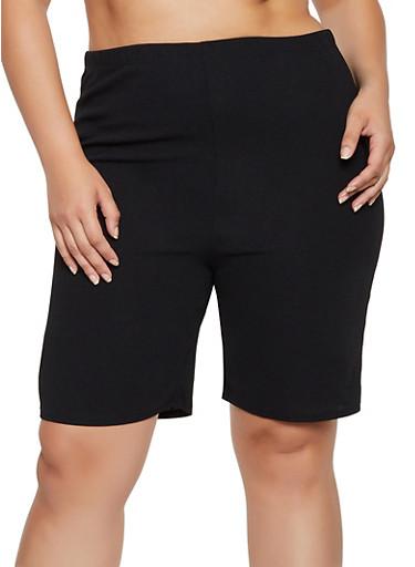 Plus Size Crepe Knit Bike Shorts,BLACK,large