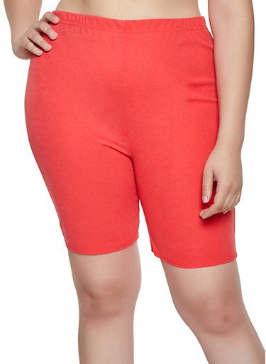 Plus Size Crepe Knit Bike Shorts,CORAL,large