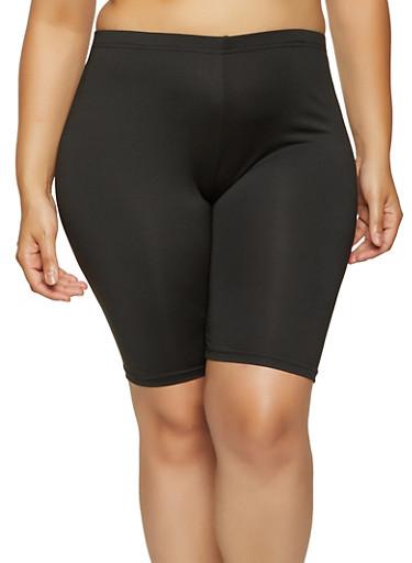 Plus Size High Waisted Basic Biker Shorts,BLACK,large