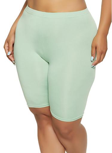 Plus Size High Waisted Basic Biker Shorts,GREEN,large
